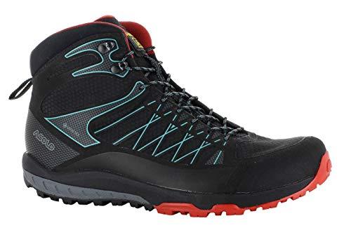 Asolo Grid Mid GV MM Chaussures de randonnée imperméables multifonctions pour homme avec Goretex - Noir - Noir/rouge, 44 EU