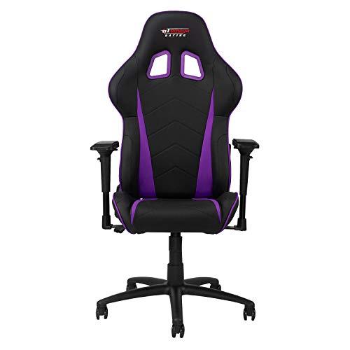 GT OMEGA PRO Racing Gaming Stuhl mit Lendenwirbelstütze - Ergonomischer PVC Leder Bürostuhl mit 4D verstellbare Armlehne & Recliner - Sportsitz für Ultimate Gaming Experience - Schwarz Weiter Lila