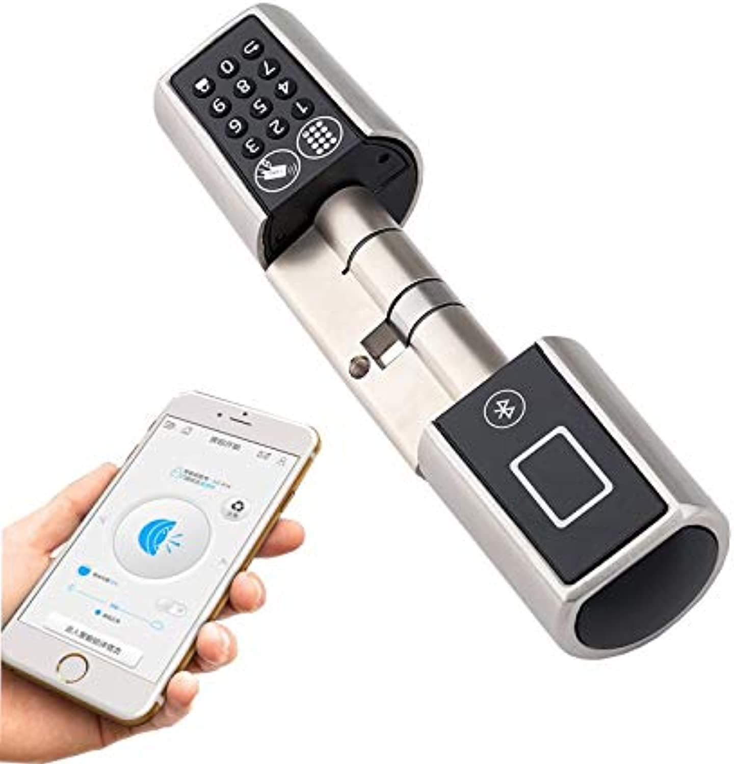 L5PC+B Smart Home Code Door Lock Cylinder blueetooth Electronic Door Lock Cylinder Unlock by Code Card & blueetooth Mobile