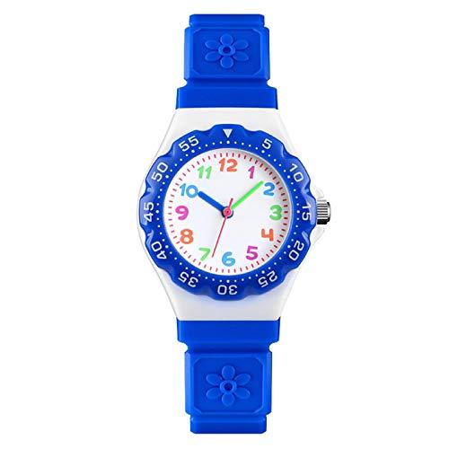 SFBBBO Reloj niño Bonito Reloj de Cuarzo Deportivo para niños, Pulsera Informal para niños, Pulsera de PU Resistente al Agua, Relojes de Cuarzo para niños, Reloj Azul Oscuro