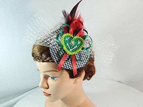 Fascinator gruen rot weiß Damenhut Trachten Hut Dirndl Oktoberfest Haarschmuck Hütchen Hut