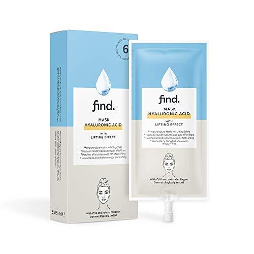 Marque Amazon - find. Masque à l'acide hyaluronique avec effet tenseur - 6 paquets de 15 ml