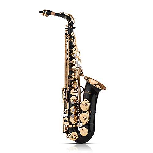 Muslady Saxophon Eb Alto Saxophon Sax Messing lackiert Gold 82Z Key Typ Holzblasinstrument mit gepolsterten Tragetaschen Handschuhe Reinigungstuch Bürste Sax Straps Reeds