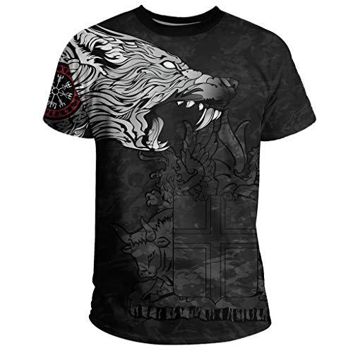 T-Shirt, Camiseta con Estampado 3D de Lobo Vikingo Odin Fenrir, Camiseta de Manga Corta Deportiva de Secado Rápido para Hombre, Símbolo de la Runa Nórdica,Negro,M