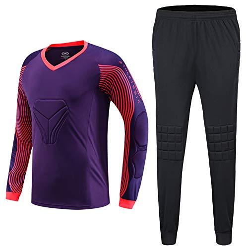 SHINESTONE Herren Torwart-Armor BodyShield gepolstertes Trikot mit Schwammschutz für Fußball, Baseball(Violett,XXS)