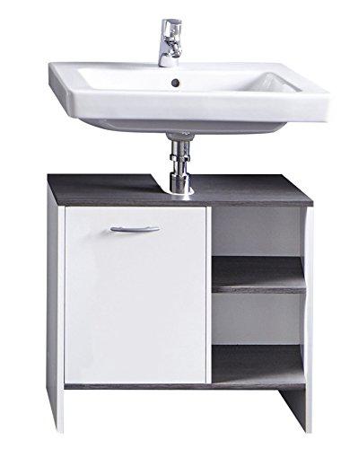 trendteam Badezimmer Waschbecken Unterschrank Schrank California, 60 x 55 x 28 cm in Weiß, Absetzung Rauchsilber mit offenem Fach und viel Stauraum