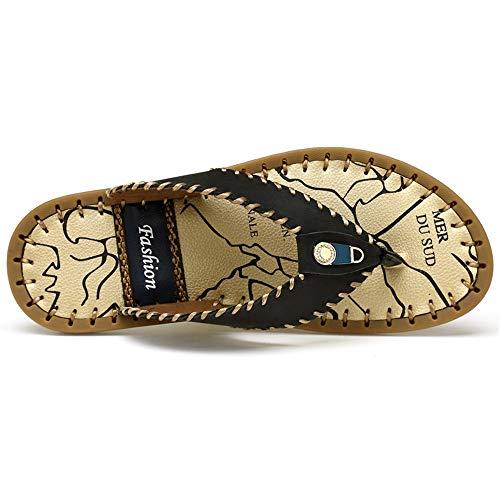 LULI Flip Männer Sommer-Strand-Handgemachte Sewing Flops Thong Slipper echtes Leder-Sandalen Vamp-Dekor mit Metallbolzen Flip Flops (Color : Schwarz, Größe : 42 EU)