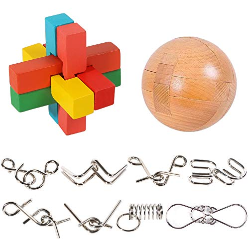 3 otters Brain Teaser Puzzle, Wooden Puzzle Ball Unlock Interlock Game 10PCS Brain Teasers Toys Adult Decompression Children Unlock Toy Stocking Stuffer