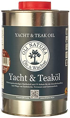 OLI-NATURA yacht e olio di teak (olio per legno per esterni, protezione UV), contenuto: 1 litro, colore: teak