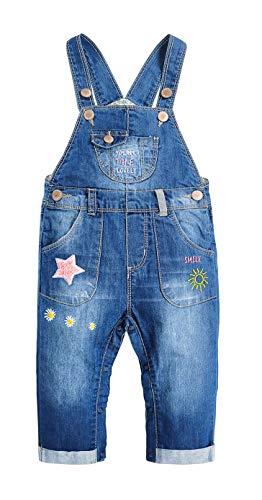 KIDSCOOL SPACE Pure CottonBaby Girls Sun Star Decor Jeans Overalls,Blue,18-24 Months