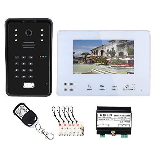 Sistema de entrada con videoportero,BUS de 7 pulgadas,2 cables,videoportero RFID con tarjeta IC de 5 piezas para apartamentos de 2 unidades,monitoreo de soporte,intercomunicador de puerta de dos vías