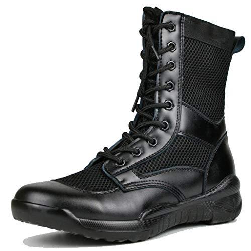 Pelle Nera Combattimento Sicurezza Lavoro Stivale Con Zip Laterale Sicurezza Polizia Militare