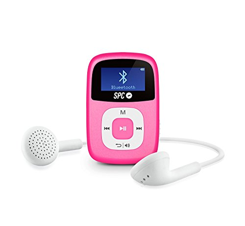 SPC Firefly Reproductor MP3 de 8 GB con Bluetooth y Radio FM en Color Rosa, 54 x 35 x 16 mm