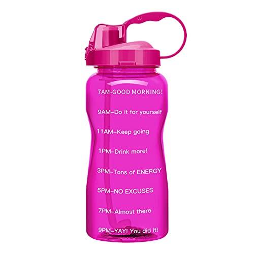 ZZDH Botella de Agua Deportiva 2L 3.8L con Marcador de Tiempo de Paja, BPA Libre Reusable GRABRE Grande FUGABLE Agua Portable DE Agua Adecuado para Fitness, Deportes al Aire Libre