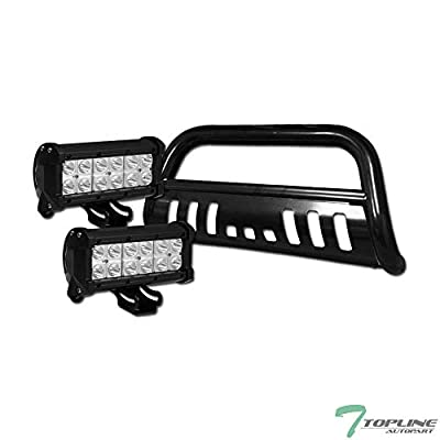 Topline Autopart Black Bull Bar Brush Push Bumper Grill Grille Guard With Skid Plate + 36W CREE LED Fog Lights For 11-19 Ford Explorer