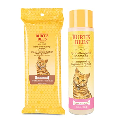 Burt's Bees for Cats Hypoallergenic Shampoo and Dander Reducing Grooming Wipes - Cat Shampoo and Wipes for Cat Dander, Cat Grooming Supplies, Cat Shampoo, Cat Wipes, Pet Wipes Cats