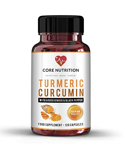 Powerful Turmeric Curcumin 1420mg - Black Pepper (Bioperine) & Ginger - Pain Reliever - Health & Immune Booster - Joint Care -120 Capsules (2 Month Supply) - Core Nutrition U.K