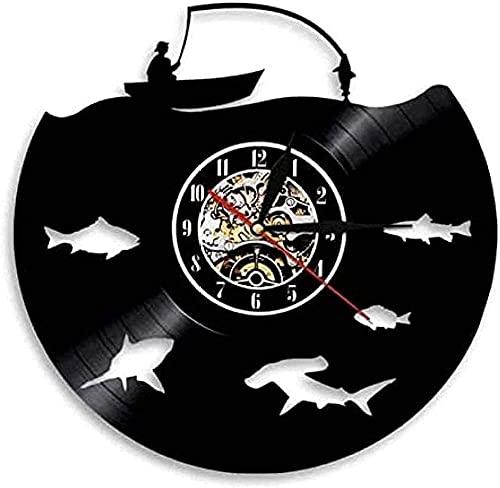 KDBWYC Logotipo de Pesca con Mosca Fiesta de Pesca Hombre decoración de la Cueva Reloj de Pared Moderno Anzuelo Grande Reloj de Pared de Vinilo papá Pescador Regalo