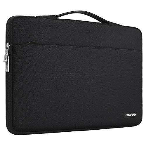 MOSISO 360 Schutz Laptop Aktentasche Kompatibel mit MacBook Pro 16 Zoll, 15 15,4 15,6 Zoll Dell Lenovo HP Asus Acer Samsung Sony Chromebook, Polyester Stoßfeste Tasche mit Trolley Gürtel, Schwarz