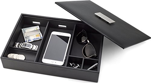 Glenor Co Mens Valet Tray/Dresser Organizer & Lid - 6 Slot Luxury Jewelry Accessories Box, Carbon Fiber Design & Metal Buckle for Men's Watches, Sunglasses, Wallet Cell Phone & Keys Pu Leather Black