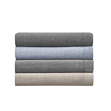 Morgan Home Fashions Cotton Rich T-Shirt Soft Heather Jersey Knit Sheet set - All Season Bed Sheets, Super Comfortable, Warm and Cozy By (Queen, Heather Blue)