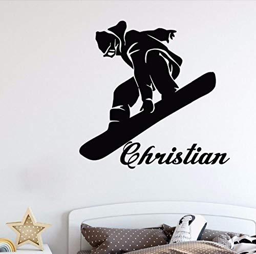 Wandaufkleber Wandtattoo Wandsticker Snowboard Skateboard Cartoons Jungen Niedlich Sport Vinyl Kunst Kinderzimmer Kinderzimmer Spielzimmer Schlafzimmer Dekor 57 × 55 cm