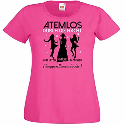Damen T-Shirt für den Junggesellenabschied mit Motiv Atemlos - IHRE letzte Nacht in Freiheit (Frauen) in pink, Größe M