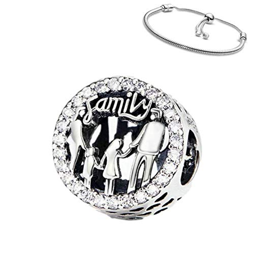Belinia Prestige - Colgante familiar - para- pulsera o collar pandora - 925/1000 Sterling +1 pulsera ajustable GRATIS