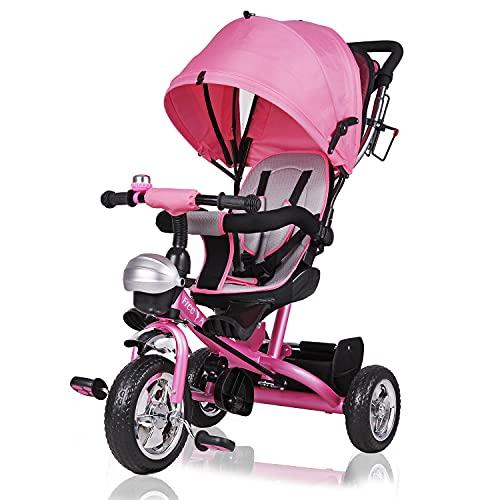 Deuba Triciclo per Bambini Passeggino Girevole maniglione Cintura Sicurezza 5 Punti Bici 9 Mesi - 5 Anni Pieghevole Rosa