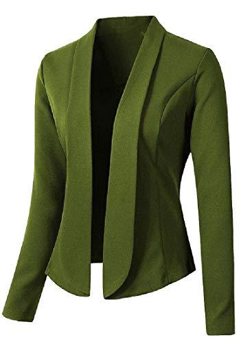 Desconocido GenericC Women Casual Work Office Open Front Blazer Jacket Cardigan Army Green L