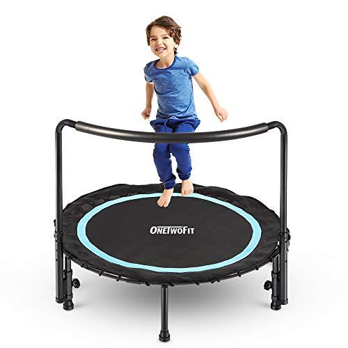 ONETWOFIT 91cm Klappbare Mini-Trampolin Kinder, mit höhen-verstellbarem Haltegriff und ausziehbarer Spring-Fläche,Sicherheits Trampolin, geeignet bis zu 50 kg Körpergewicht, OT200