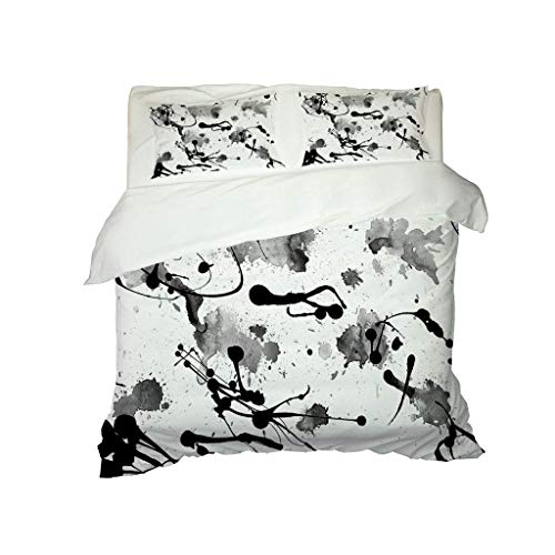 GZHMW Bedding Set of 3 with Zipper Closure King 230x220cm Duvet Cover Set Microfiber Quilt Cover Polyester Cotton with 2 Pillowcases 50x75cm Double - Black art pattern