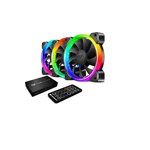 COUGAR Hydraulic Vortex RGB HPB 120 mm Cooling Kit with Tri-Directional Lighting and Remote Control (3 Pack)