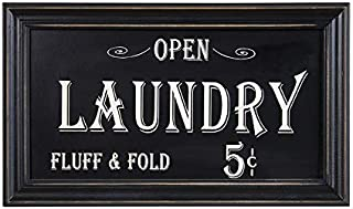 Open Laundry Fluff & Fold Rustic Wood Sign | Vintage Home Bathroom Laundry Decor | 7 x 14 Inch