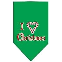 Mirage Pet Products 66-25-04 LGEG Heart Christmas Screen Print Bandana Emerald Green Large