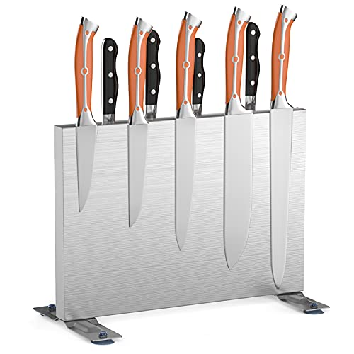 Magnetic Knife Block, Stainless Steel Knife Block Double Side Magnetic Knife Holder Stand Kitchen Knife Storage Rack Art Supply Organizer(Without Knivies)