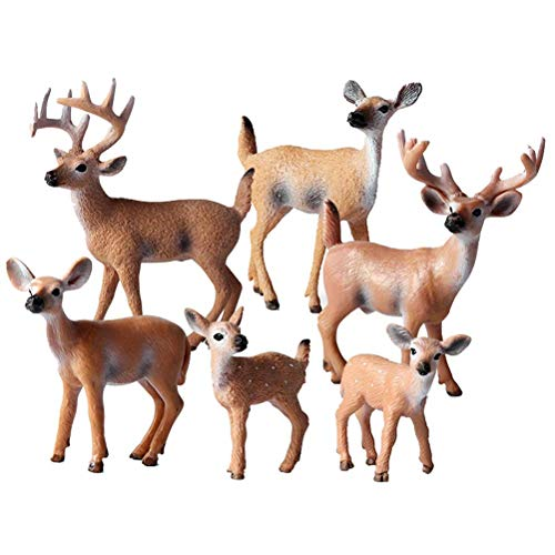 FLORMOON Animal Figures - 6pcs Realistic White Tailed Deer Action Model - Plastic Wild Animal Learning Party Favors Toys - Educational Forest Farm Toys Birthday Cupcake Topper For Kids