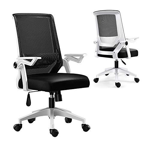 Ergonomischer Bürostuhl,360° Drehen Schreibtischstuhl Drehstuhl hat Verstellbarer Lordosenstütze, Höhenverstellbarer Drehstuhl mit Leisen Rollen und Verdicktem Sitzkissen (White)