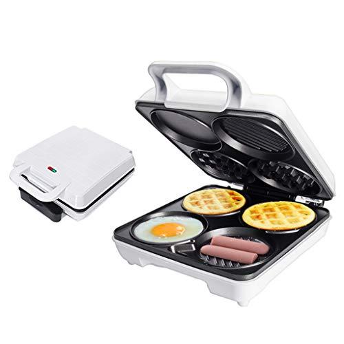 3 in 1 Familie Waffeleisen, Multifunktion Küche Pfannkuchen-Maschine Frühstück Maschine Toaster Beidseitige Heizung Mini-Kuchenmaschine 1000W (Weiß)