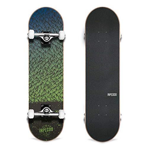 Inpeddo Feather Skateboard Komplettboard 7-Ply Ahornholzkonstruktion mit 52mm 98A Rollen für Anfänger Fortgeschrittene Profis und Erwachsene (Breite: 7.75