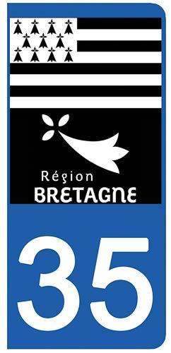 DECO-IDEES 2 Stickers pour Plaque d'immatriculation, 35 Ille et Vilaine - Stickers Garanti 5 Ans