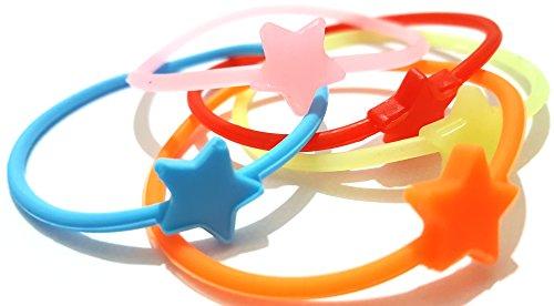 Dojore Lot de 5étoiles lumineuses Coque en silicone Bracelet/bandeau Cheveux Fluo en caoutchouc Bracelet Bracelet
