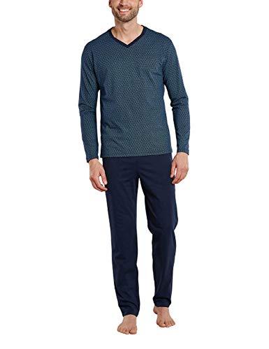 Schiesser Herren lang V-Ausschnitt Zweiteiliger Schlafanzug, Nachtblau 01, 48