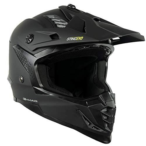 G-Mac Sting Evo Off Road Motocross Dirt Bike ATV MX Motorbike Helmet (Matt Black, XL)