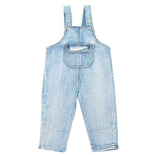 Happy Cherry - Jongen meisjes baby overall kinderslapbroek denim gat jeans broek met bretels eendelig jumpsuit kleinkind baby jeanbroek - 9-36 maanden