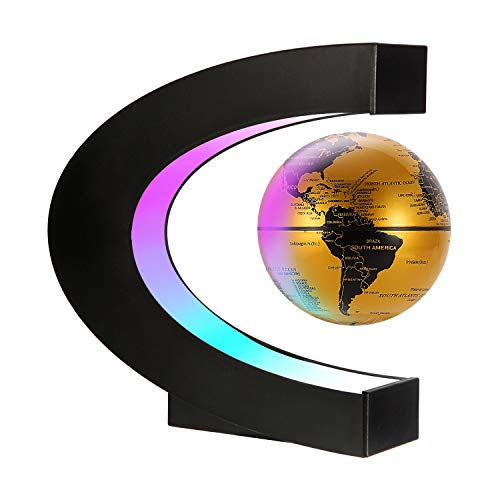 Gresus Magnetic Levitation Floating World Map Globe with C Shape Base, Floating Globe with LED Lights, Great Fathers Students Teacher Business Birthday Gift for Home Office Desk Decoration (Gold)