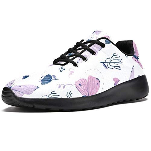 Zapatillas deportivas para correr para mujer, color azul, acuarela, pájaro, flores, zapatillas de deporte de malla, transpirables, para caminar, senderismo, tenis, color, talla 38 EU