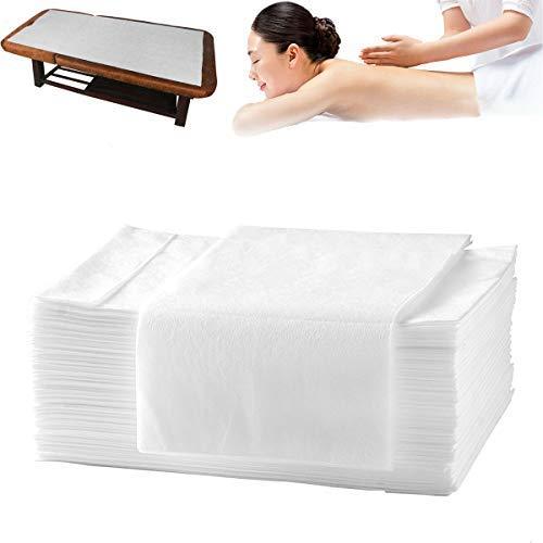 uyoyous 100 Stück Einwegbettlaken aus Vliesstoff, 80 x 180 cm Massagebettlaken Hygiene-Auflage Einweg Massagetisch Bettlaken für Schönheitssalon Massageliegen Krankenhausbetten(Weiß)