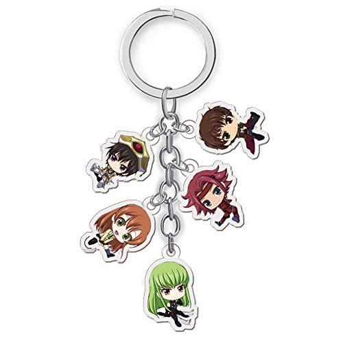 Lecheng Japanische Anime Charakter Figuren Acryl Schlüsselbund Anhänger Schlüsselanhänger Sammlung Doppelseitig Transparent 5-in-1( 16--Code Geass)