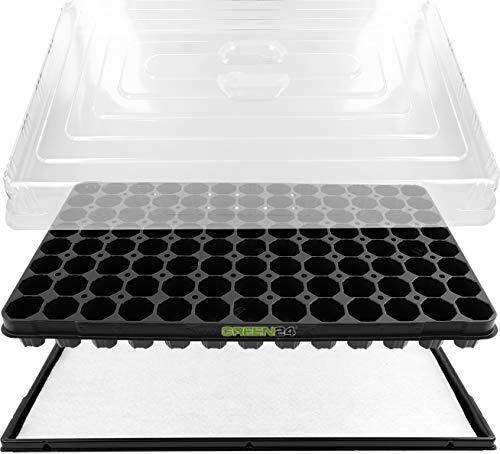 GREEN24 Anzuchthaus PRO104 Zimmer-Gewächshaus Hydroponik XL, automatische Bewässerung für die Anzucht - Profi Treibhaus mit Wanne + Kapillarsystem + QP Topfplatte + Haube